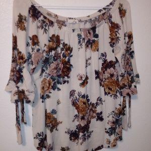 KAII Floral Cream Brown Boho Top Size XL